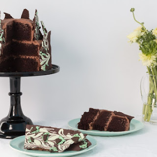 Irish Creme Chocolate Layer Cake with Chocolate Mint Oreo Bark.