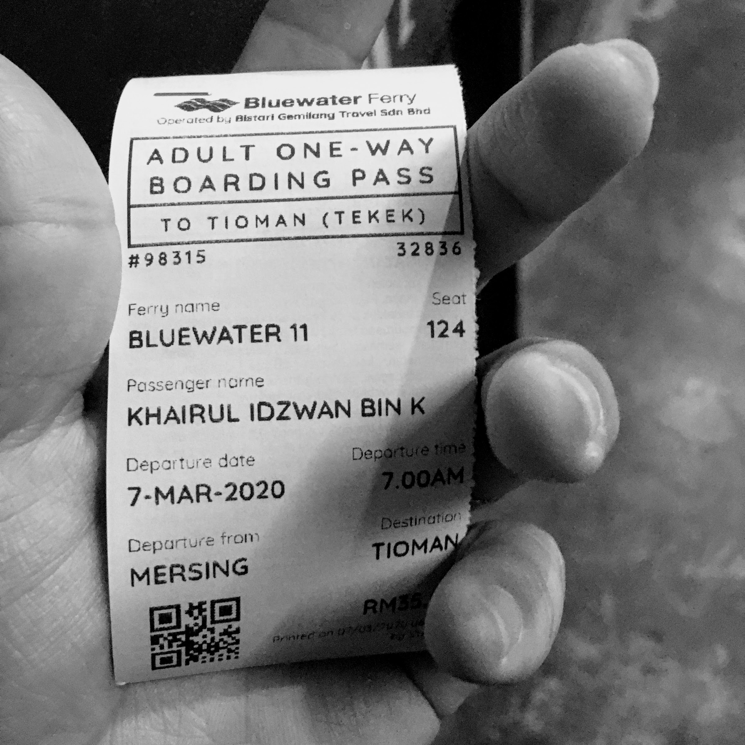 Bluewater Ferry ticket