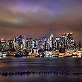 Manhattan Sunset  by Chad Weisser - City,  Street & Park  Skylines ( weisser photography, manhatttan skyline, hdr, sunset, manhattan, long exposure, new york, nyc, hudson river, new jersey, pwcskylines,  )