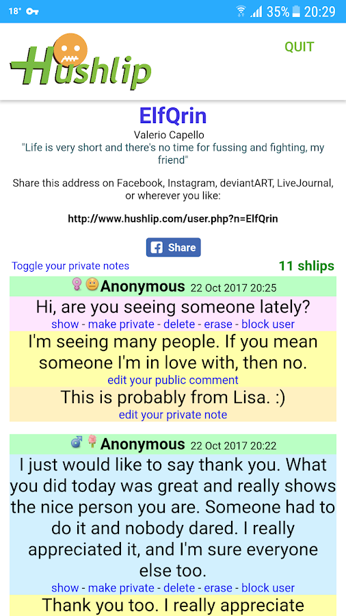 Hushlip Anonymous Messages- screenshot