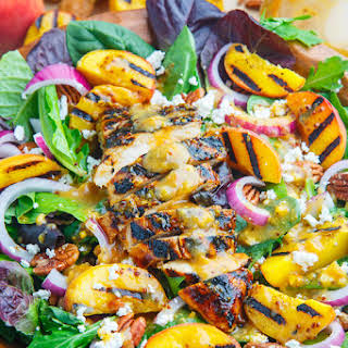Grilled Peach and Honey Dijon Chicken Salad with Goat Cheese and Pecans.