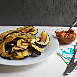 Grilled Acorn Squash with Tomato Curry Chutney.