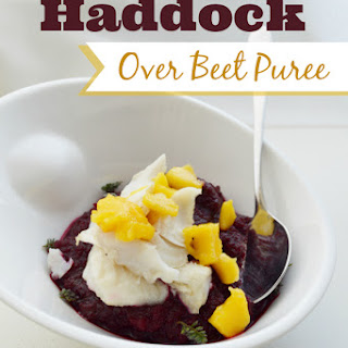 Haddock Over Beet Puree.