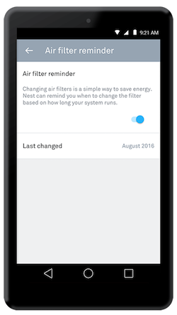 Nest app air filter reminder
