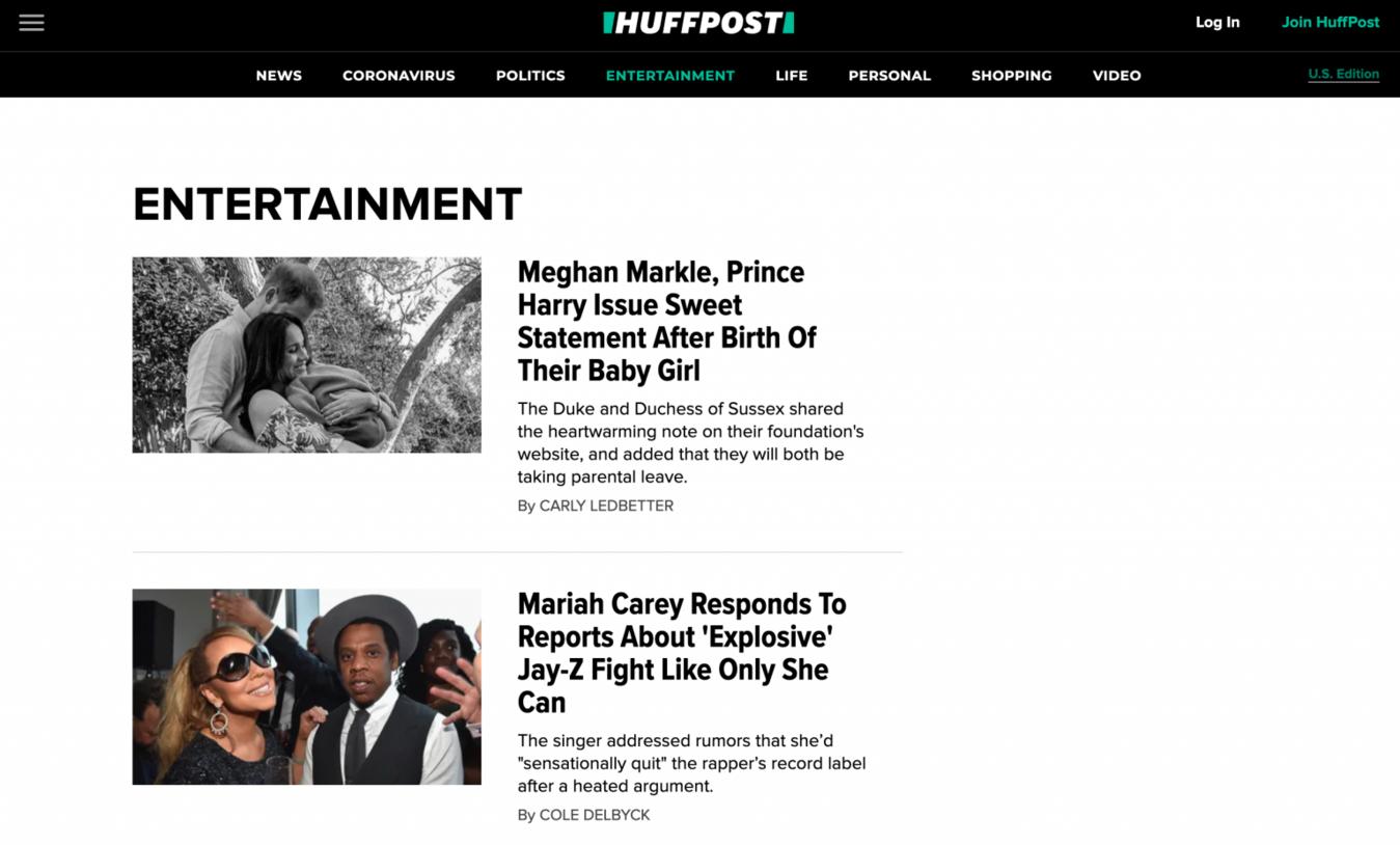 Huffington Post landingspagina