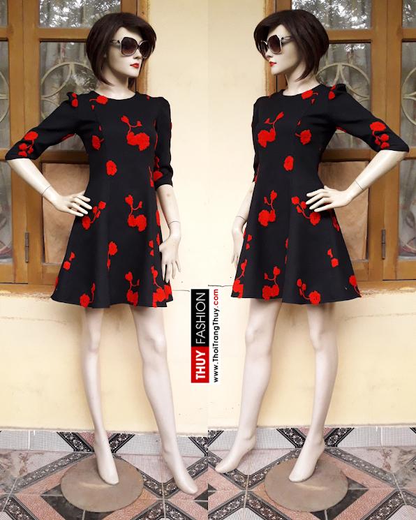 Váy dạ thu đông dáng xòe đỏ đen V358 thời trang thủy