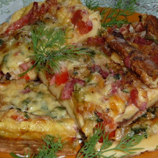 Omelet Pizza With Minced Meat.