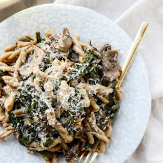 One Pot Mushroom and Swiss Chard Pasta.