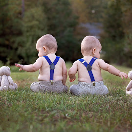 My Heart Reaches by Jeannie Meyer - Babies & Children Child Portraits ( canon, teddy bears, back shot, red heart, suspenders, twins,  )