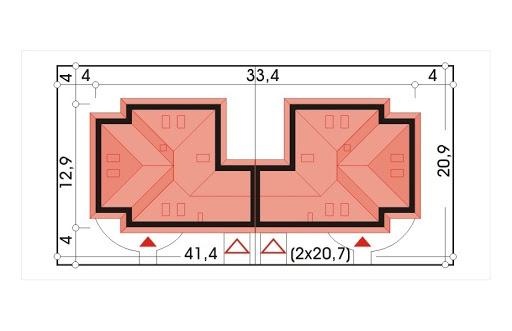 Akacja II bliźniak wersja B z pojedynczym garażem - Sytuacja