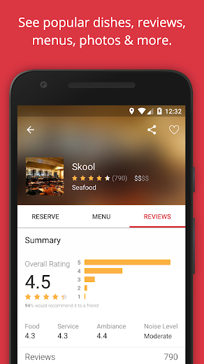 Screenshot 2 for OpenTable's Android app'