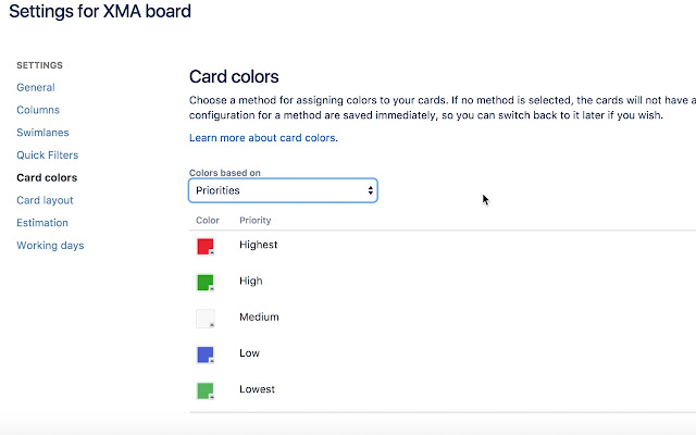 JIRA Issue Card Color Extension