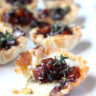 Baked Brie & Bacon Jam Phyllo Cups.