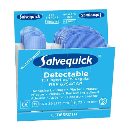 Salvequick Blå Detectable Fingertip/Regular Plåster