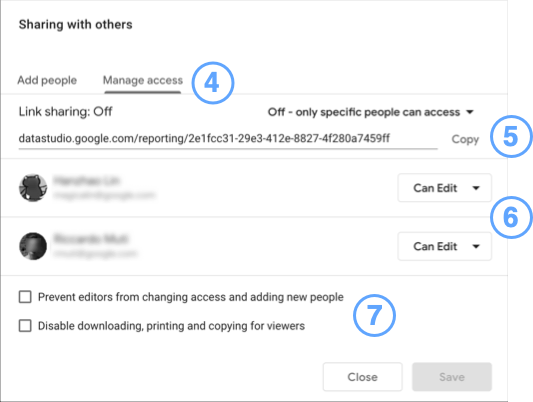 Sharing dialog, manage access tab, with numbered callouts.