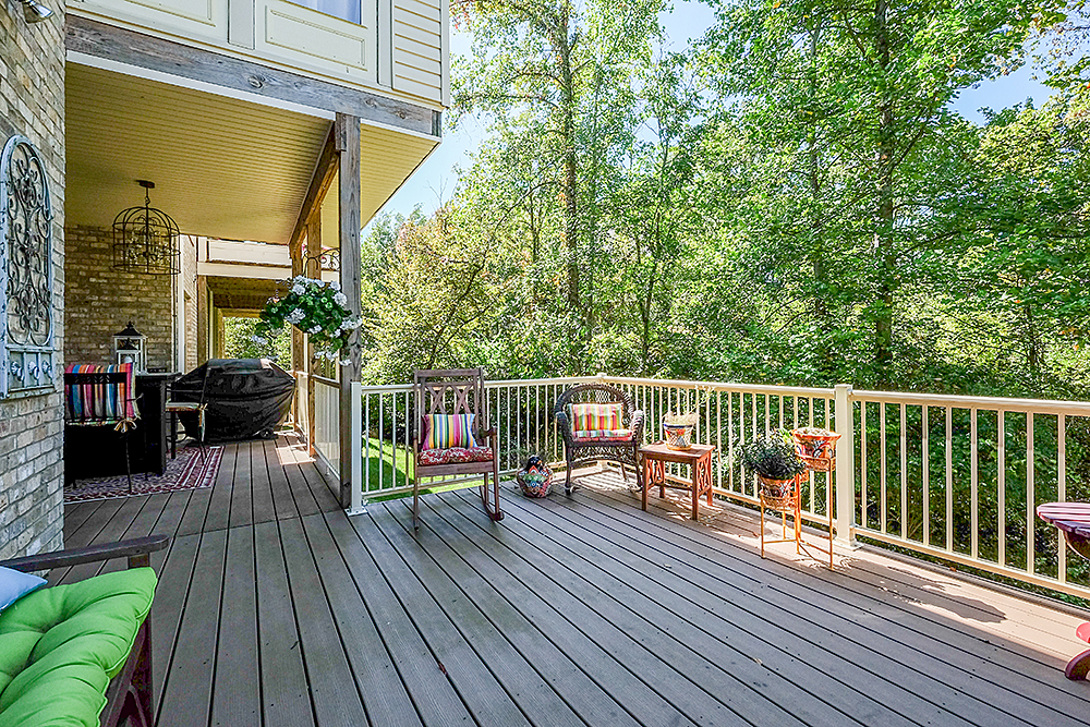 Inviting outdoor lounging on two beautiful decks.  You can sit out and enjoy the gentle rain on the covered deck, or soak up the sun on the open deck.  What a great place for outdoor dinning as well! These decks are located at 10901 Jordain Drive. Louisville, KY. 40241, currently listed by Pam Ruckriegel 502-435-5524