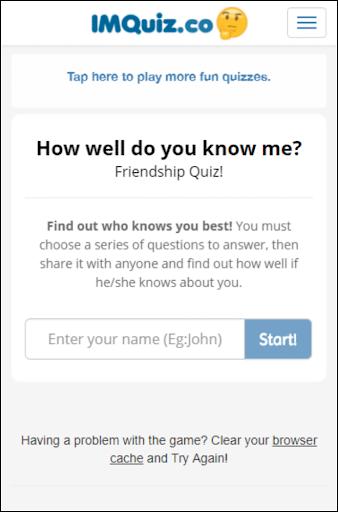 Imquiz Quiz To Test Friendship Screenshot 1
