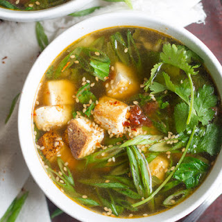 Vegan Hot and Sour Soup with Bok Choy.