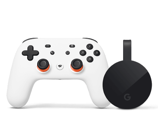 Stadia controller is pictured with Chromecast Ultra