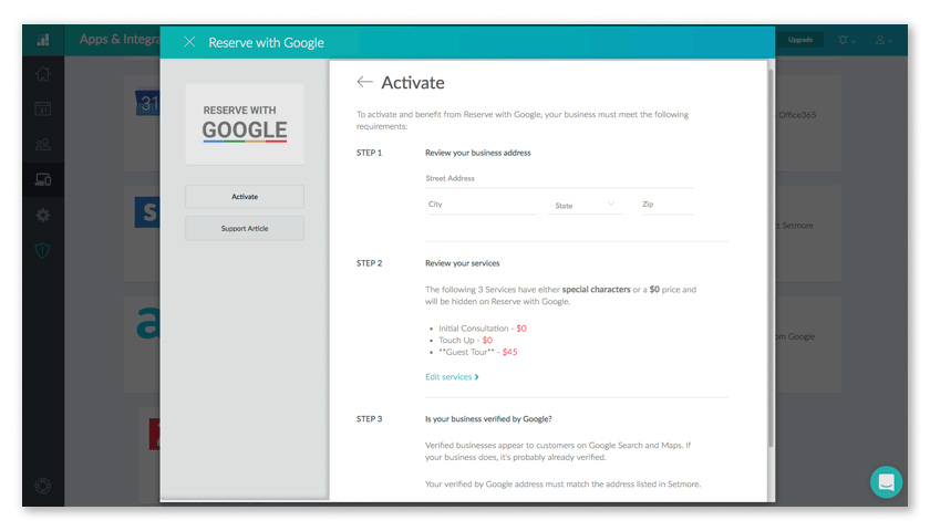 The Activate screen walks you through the requirements for Reserve with Google.