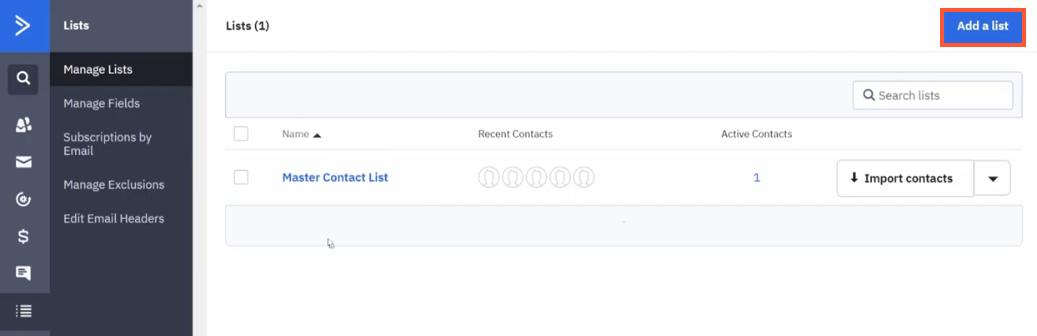 ActiveCampaign List step 2