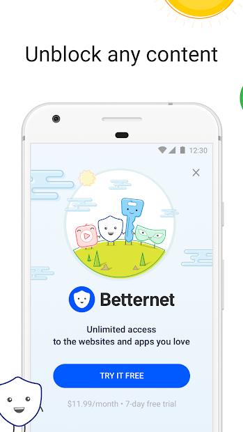 VPN Free - Betternet Hotspot VPN & Private Browser Android App Screenshot