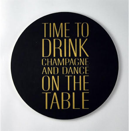 Glasunderlägg - Time to drink champagne, svart