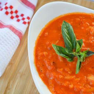 Creamy Tomato Basil Soup With Orzo.