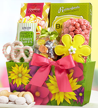 Photo: Floral Spring Treats Gift Basket