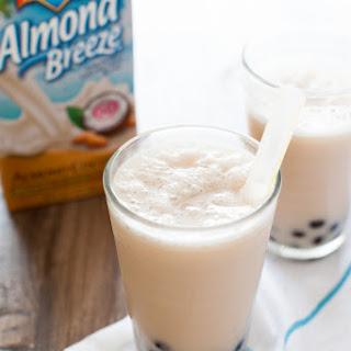 Coconut Almond Milk Tea Smoothies with Boba.