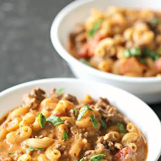 Creamy Ground Beef and Macaroni Tomato Soup.