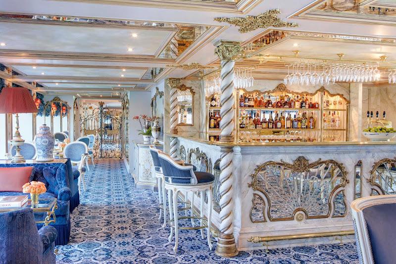 The ornate Habsburg Salon aboard Uniworld's luxury river ship S.S. Maria Theresa.