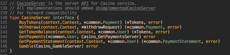 casino server interface