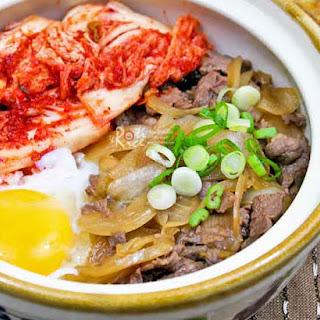 Gyudon with Kimchi and Onsen Tamago.