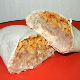 Homemade Cheesy Bean and Rice Burrito