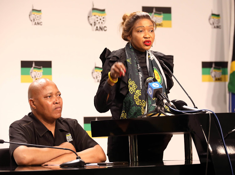 ANC national youth task team coordinator Sibongile Besani and convener Thandi Mahambehlala. The task team said it intends holding the ANC Youth League congress before the end of January next year.