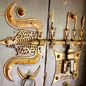 manichitrathazhu by Arjun Madhav - Artistic Objects Other Objects ( old, door lock, wood, designed lock, door, gold,  )