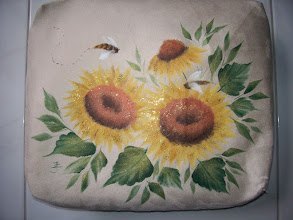 "Photo: Lap-desk 1-1 Sunflowers. This side is a soft cushion which is on your lap. I painted this side. If you are not use it you can put it on your chair or sofa as a pretty cushion. Size: 12 1/2"" x 14 1/2"" x 4""(thick). $39.50 Color: beige"