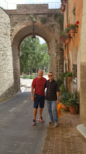 Photo: Frank and David in front of the old town portal, Deruta