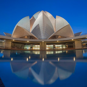 Twilight at Lotus Temple by Nimit Nigam - Buildings & Architecture Architectural Detail ( twilight, indian, hour, travel, delhi, temple, landmark, d3000, lotus, new, blue, nimit nigam, india, nikon,  )