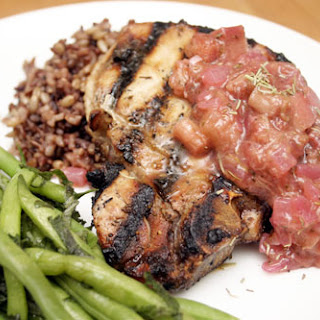 Honey Glazed Pork Chops with Rhubarb Chutney