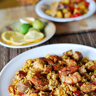 Easy Paella With Chicken, Shrimp, And Sausage.