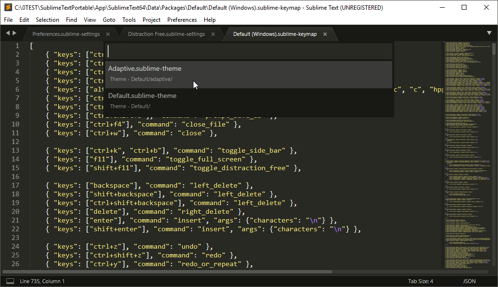 thumbapps.org Sublime Text portable, Preferences → Color Theme...