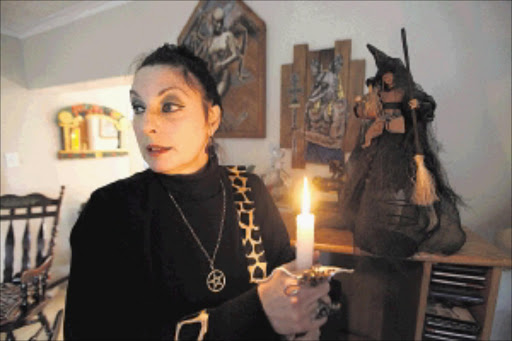 Donna 'Darkwolf' Vos, who calls herself the high priestess of the Circle of the African Moon, at her home in Durbanville, Cape Town Picture: ESA ALEXANDER
