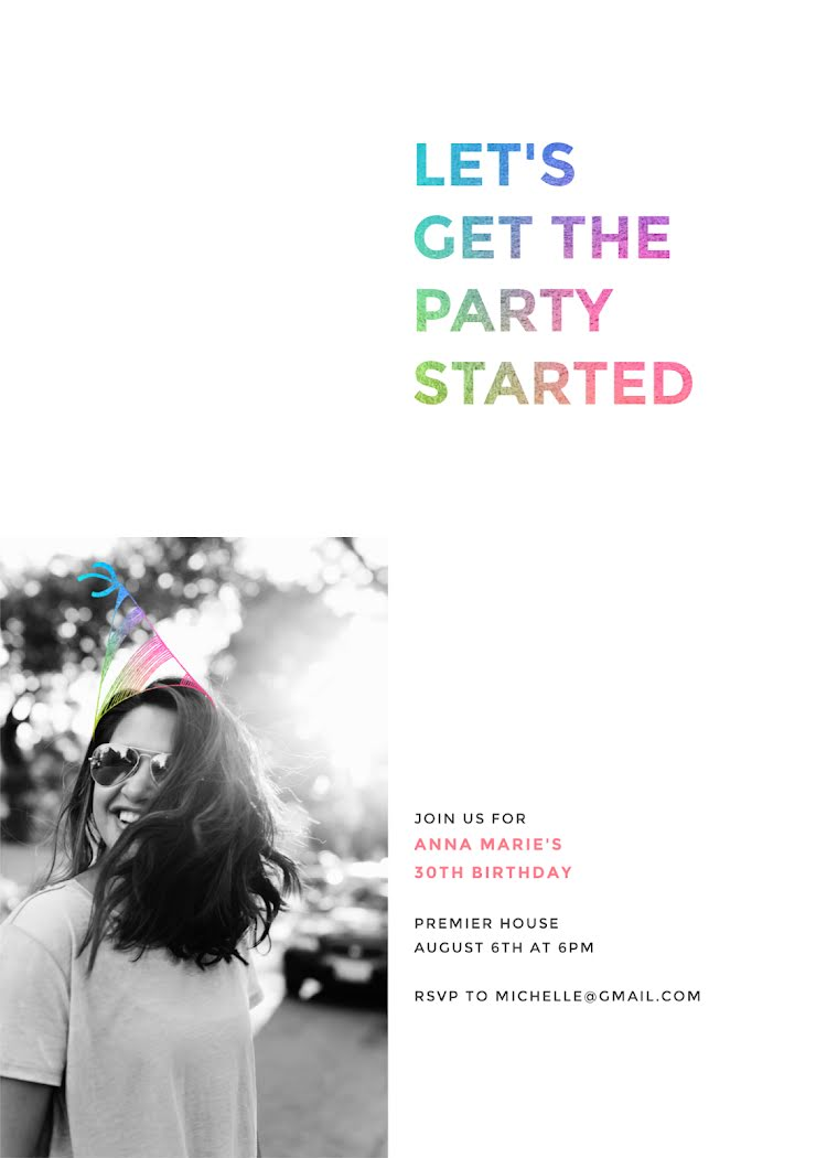 Get the Party Started - Birthday Card Template