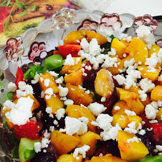 Honey Dipped Grilled Peaches With Feta, Lettuce And Tomatoes In A Lemon Mustard Honey Ginger Dressing
