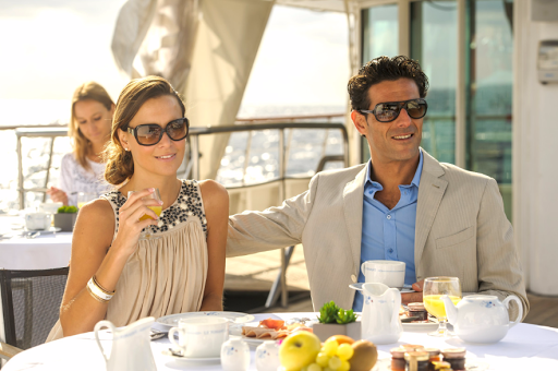 Enjoy a leisurely breakfast on Le Ponant.