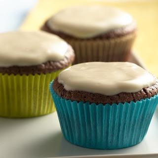 Chocolate Cupcakes with Vanilla Yogurt Caramel Frosting.