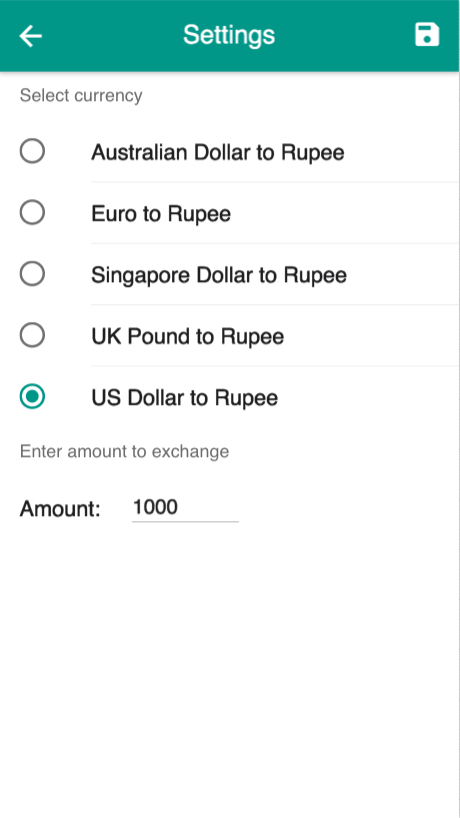 Rupee Exchange Rates- screenshot