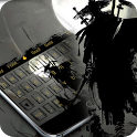 Ninja keyboard Samurai keyboard  Black and white icon